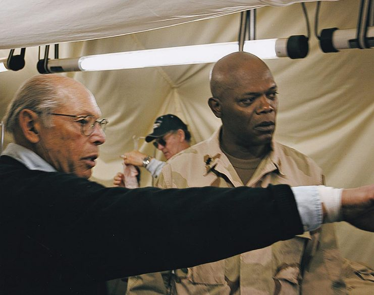 Irwin Winkler with Samuel L. Jackson on the set of Home of the Brave (2006)