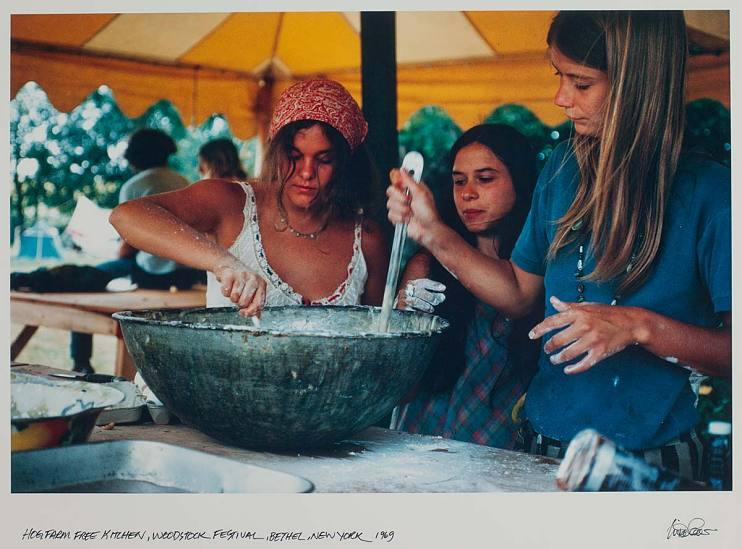 Preparing food in the free kitchen at Woodstock, 1969