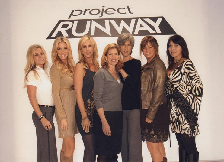 With her sister and the original cast of Real Housewives of Orange County at the first Project Runway Finale in 2005