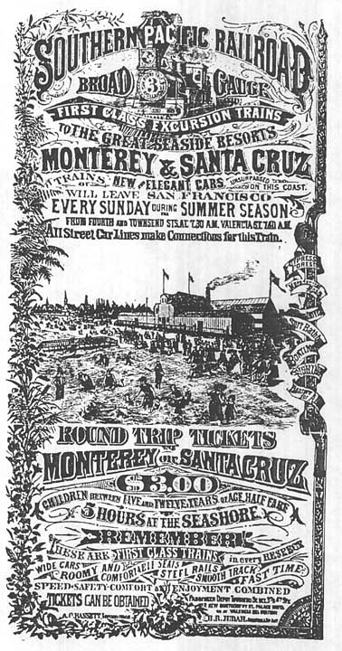 Santa Cruz advertisement, Southern Pacific Railroad, 1885