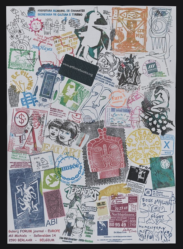 Mail art by Ryosuke Cohen to John Evans dated September 17, 2002. The collage consists of postage stamps, artistamps, text and images produced by rubber stamp, drawings, and stickers.