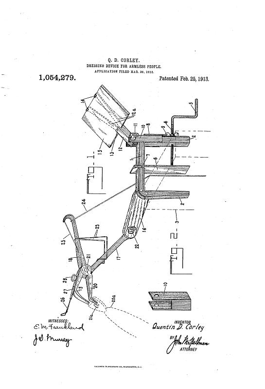 Patent for a dressing device for armless people