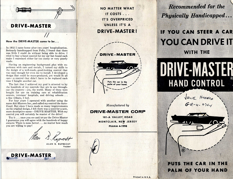Drive-Master Hand Control Pamphlet