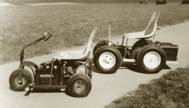 Ralph Braun's first two motorized chairs, the first four-wheel iteration and a second tri-wheel version