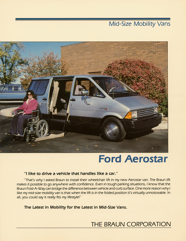 Braun ad featuring the Ford Aerostar