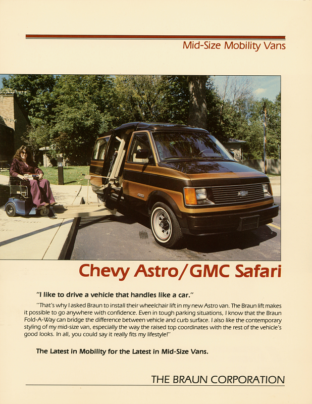 Braun ad featuring the Chevy Astro/GMC Safari
