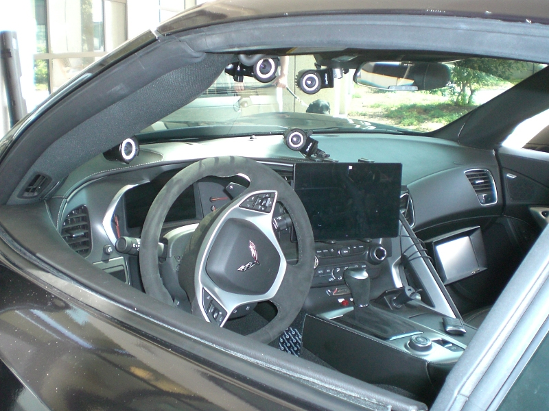 Interior view of the Quadvette's driver's seat and control system