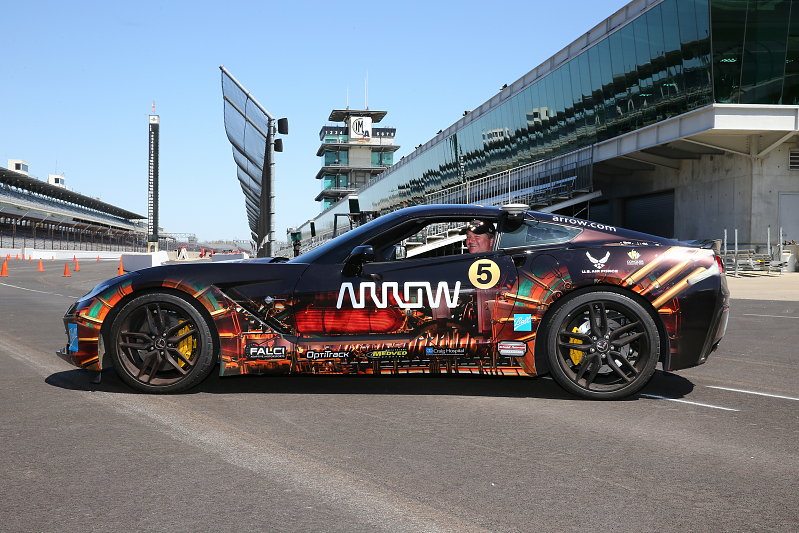 Sam Schmidt on the track of the Indianapolis Motor Speedway