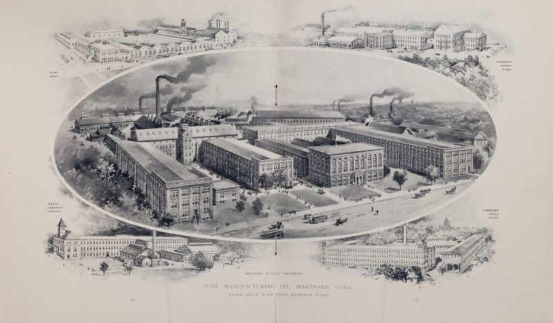 Pope Manufacturing Company factories in Hartford, CT, ca 1898