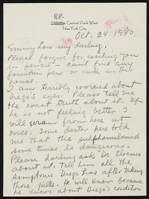 Frida Kahlo, New York, New York letter to Emmy Lou Packard, San
