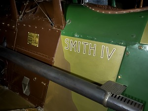 """""""Smith"""" in brown lettering on body of Spad XIII """"Smith IV"""" aircraft"""