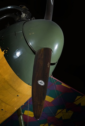 Green nose and wooden propellers of Albatros D.Va aircraft