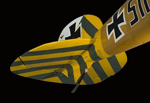 Paddle-shaped yellow and green striped Albatros D.Va Rudder