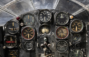 View of flight instrument panel in the cockpit of the Bell X-1-thumbnail 4