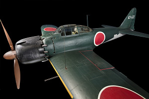 Side view of green tri-blade propellered Zero Fighter aircraft-thumbnail 1