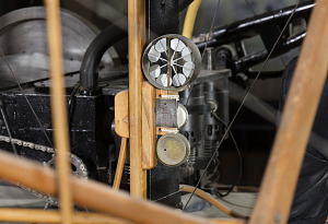 Metal circular wind mechanism attached to wooden frame in 1903 Wright Flyer-thumbnail 6
