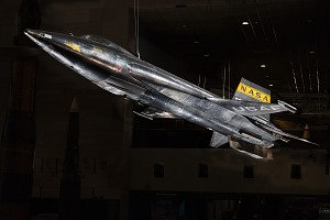 Black titanium rocket-shaped North American x-15 aircraft hanging in museum-thumbnail 1