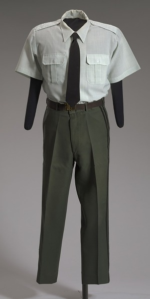 Image for US Army green service uniform shirt worn by Colin L. Powell