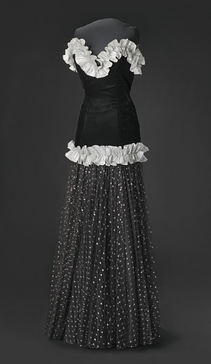 Image for Black and silver drop waist dress with ruffle details designed by Peter Davy
