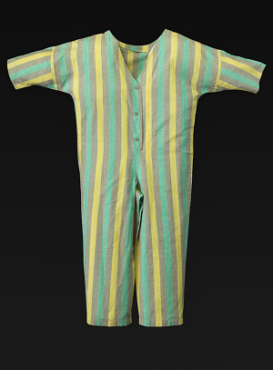 Image for Mint green, yellow, and grey jumpsuit designed by Willi Smith