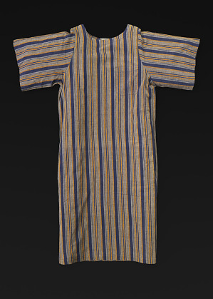 Image for Grey, blue, and maize-colored cotton striped dress designed by Willi Smith