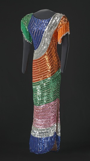 Image for Fitted dress with rainbow sequins and beading designed by Peter Davy