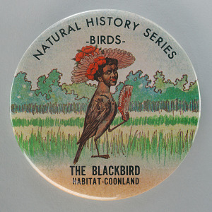 Image for Button with an image of a bird with the head of an African American woman