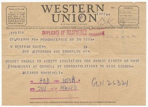 Image for Telegram to Althea Gibson from Eleanor Roosevelt