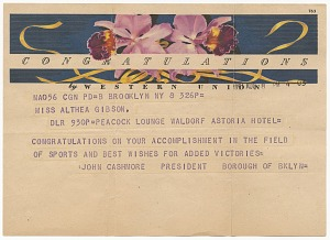 Image for Telegram to Althea Gibson from John Cashmore