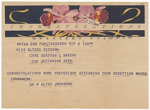 Image for Telegram to Althea Gibson from Robert Walter Johnson