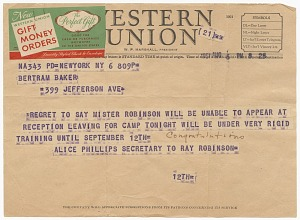 Image for Telegram to Althea Gibson from Ray Robinson