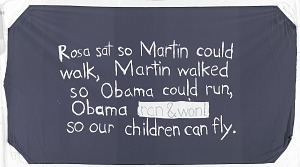 Image for Hand-painted banner for Obama presidential campaign