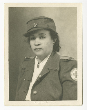 Image for Photograph of Frances Albrier wearing a Red Cross uniform
