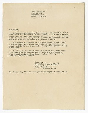 Image for Letter to Frances Albrier from Stokely Carmichael about the Black United Front