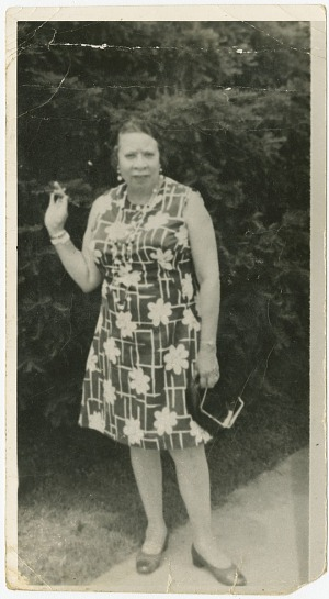 Image for Photograph of Mae Reeves standing outdoors
