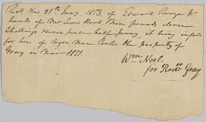 Image for Payment receipt to Rosa Gray for the hire of an enslaved man, Cook