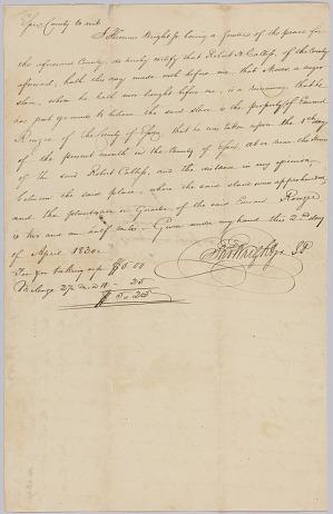 Image for Affidavit of apprehension of Moses, property of Edward Rouzee