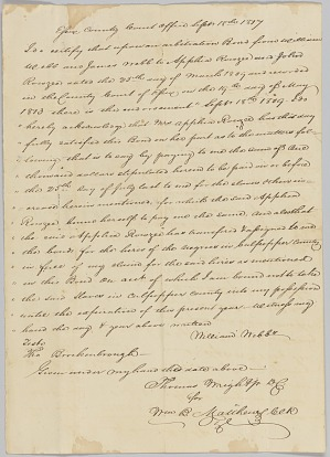 Image for Transcript of court record regarding payment for the hire of enslaved persons