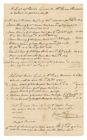 Image for List of bonds for the hire of enslaved persons given to Evan Brown to collect