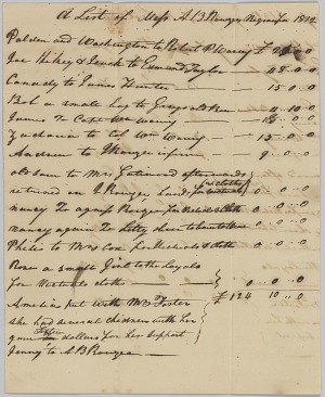 Image for List of enslaved persons hired out by AB Rouzee for the year 1812