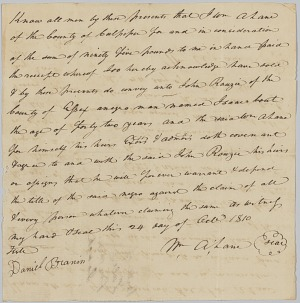 Image for Bill of sale for a 42-year-old man named Isaac to John Rouzee