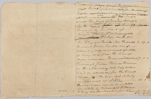Image for Accounting record for the Rouzee family with notes on hires of enslaved persons