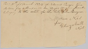 "Image for Payment receipt to Eliza Noel for ""attendance on a negro woman named Janet"""