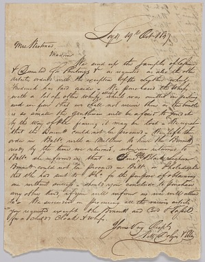 Image for Letter concerning procurement of whips, personal affects, and bolts of cloth