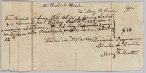 Image for Payment receipt for room and board provided by Mary R. Carter