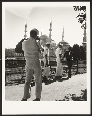 Image for James Baldwin conversing with sailors from the U.S. Sixth Fleet in front of the Blue Mosque, Istanbul, 1965