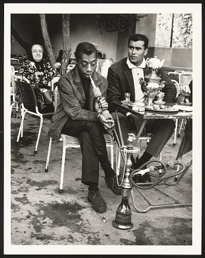 Image for James Baldwin in Emirgan tea house trying hookah, Istanbul 1965