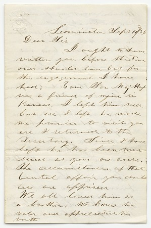 Image for Letter to the parents of David Hoyt from James F. Legate
