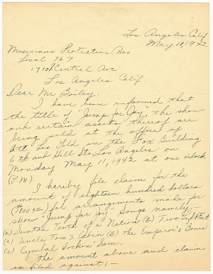 Image for Letter to the Musicians' Protective Association from Duke Ellington