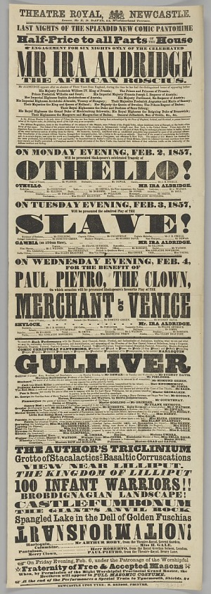 Image for Playbill for Ira Aldridge in Othello and The Slave at the Theatre Royal